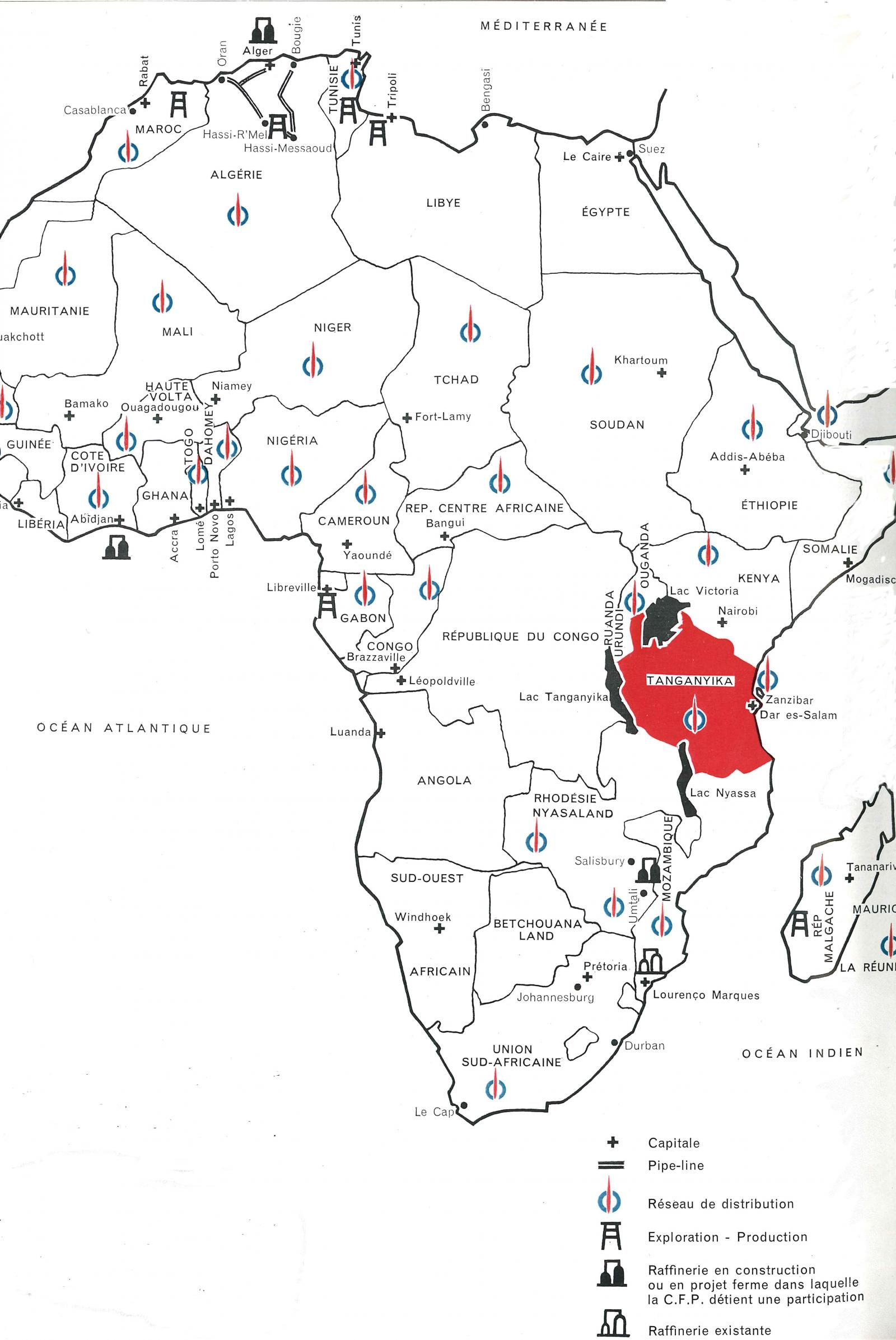 Map of the presence of Total in Africa in 1962
