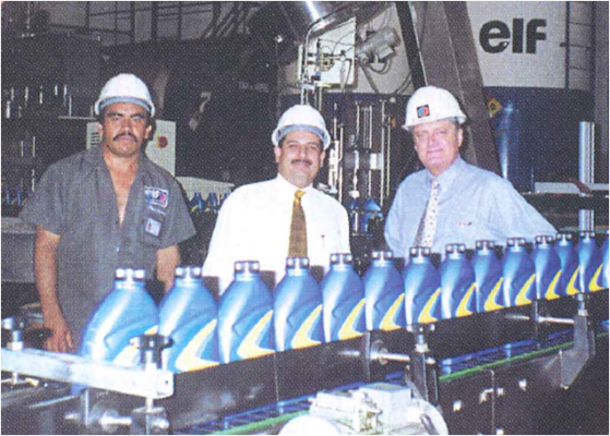 The filling of the first bottles in 2000 with a new design.