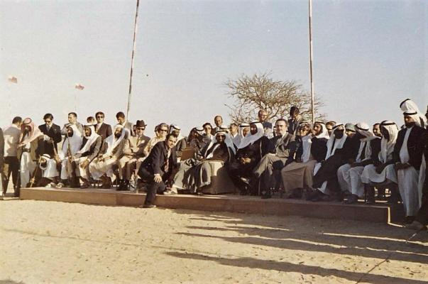 Shaikh Zayed and several government ministers, Maziad, 19 March 1972