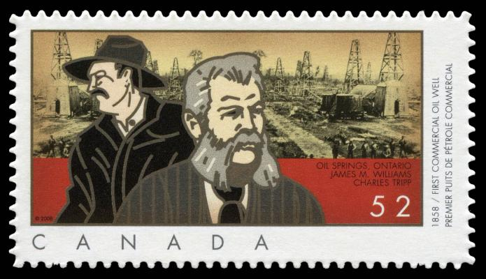 Commemorative stamp issued by Canada post in 2008 and marking the 150 anniversary of the first commercial oil well.