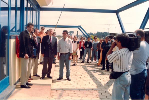 Xavier Bordier, Gereral Manager giving a speech, 1998