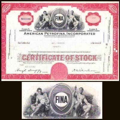 Certificate of stock - American Petrofina Incorporated 1956