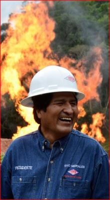The President Evo Morales in front of the Aquio flare