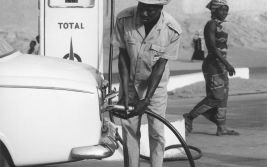 Total service station in Niamey, African pumping in station