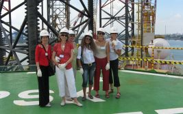 During the summer 2007, a photo team in Singapore on the helideck of the Maersk Completer before she was mobilized to Brunei to drill MLJ2-06